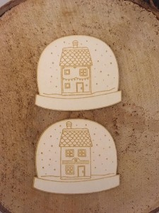 Tekturka Snowglobes with Tiny Houses 2szt