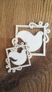 Tekturka Art Deco Two Square Doves 10szt